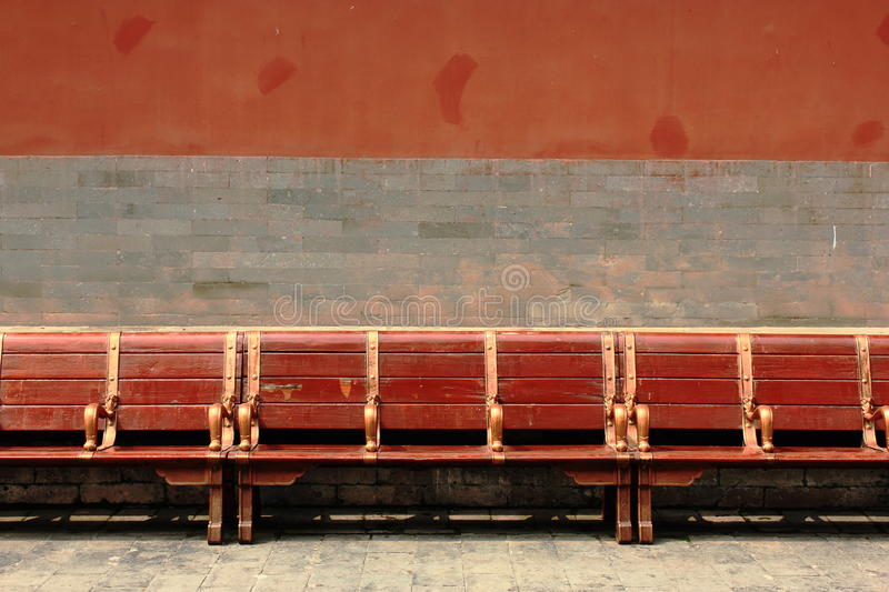 Download Red Wooden Bench In The Forbidden City, Beijing Stock Photo - Image: 22655238