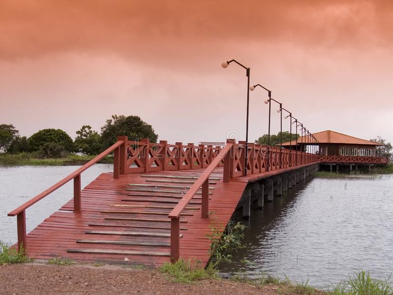 Download Red wooden bridge stock image. Image of garden, backwoods - 8914747