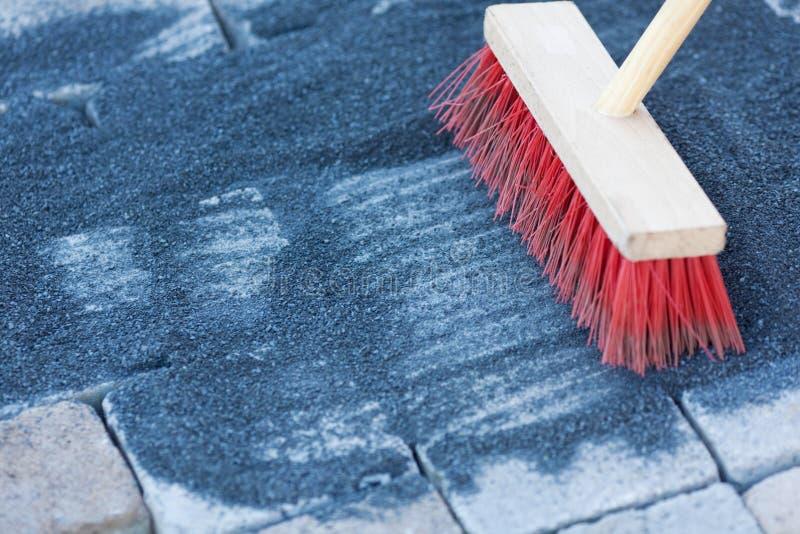 Download Red wooden broom stock photo. Image of bricklayer, floor - 31304556