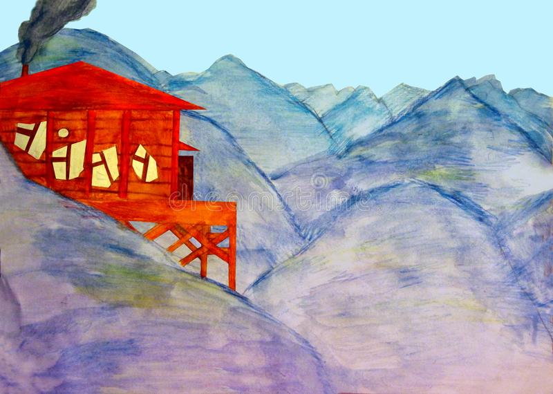 Red wooden cabin with curved Windows in the mountains graphics watercolor royalty free stock image