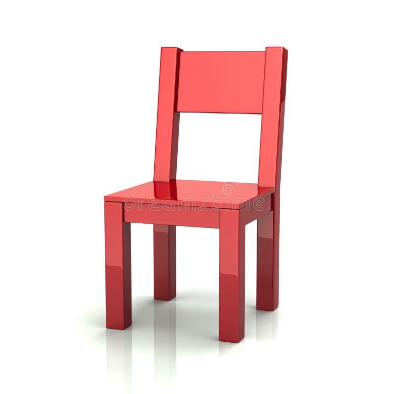 Red wooden chair 3d illustration vector illustration