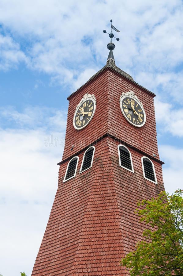 Red wooden church tower Oregrund Sweden royalty free stock photos