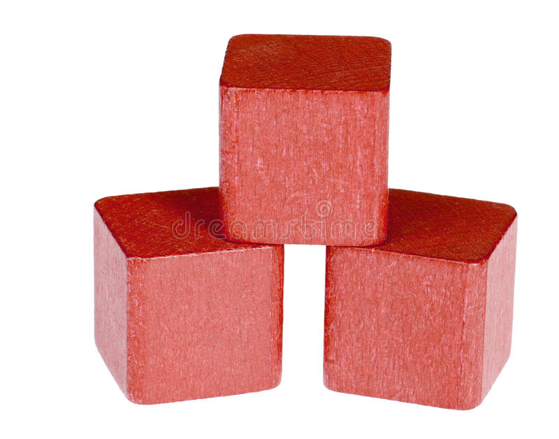 Red Wooden Cubes Stock Photo