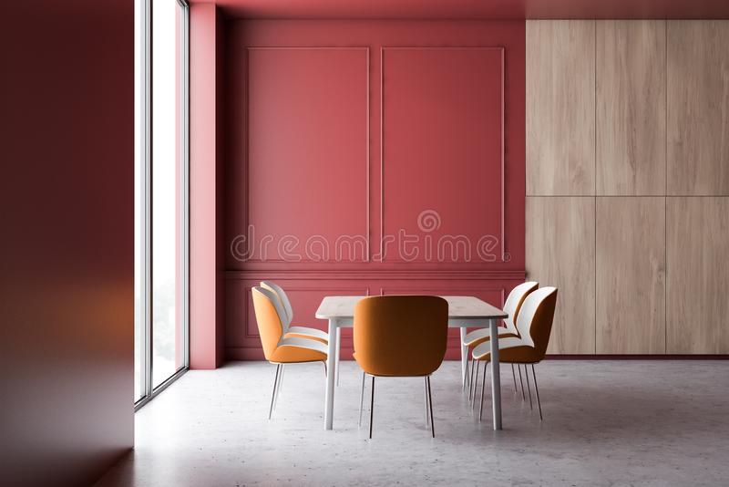 Red and wooden dining room interior vector illustration