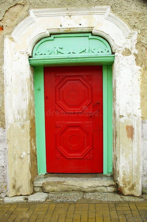 Red wooden door stock photos