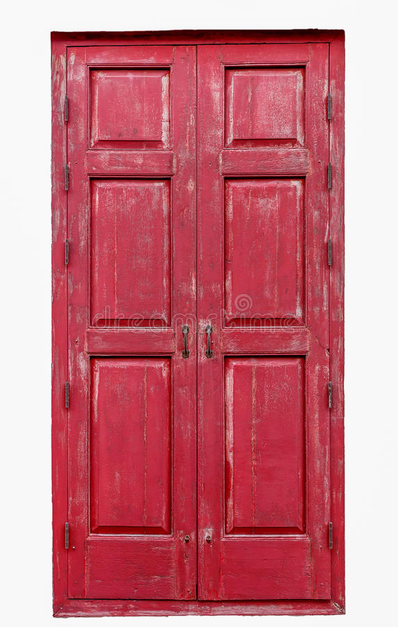 Red wooden door stock photos