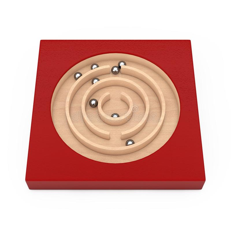 Red Wooden Education Labyrinth Maze Toy Game for Children Memory Advance Learning. 3d Rendering stock illustration
