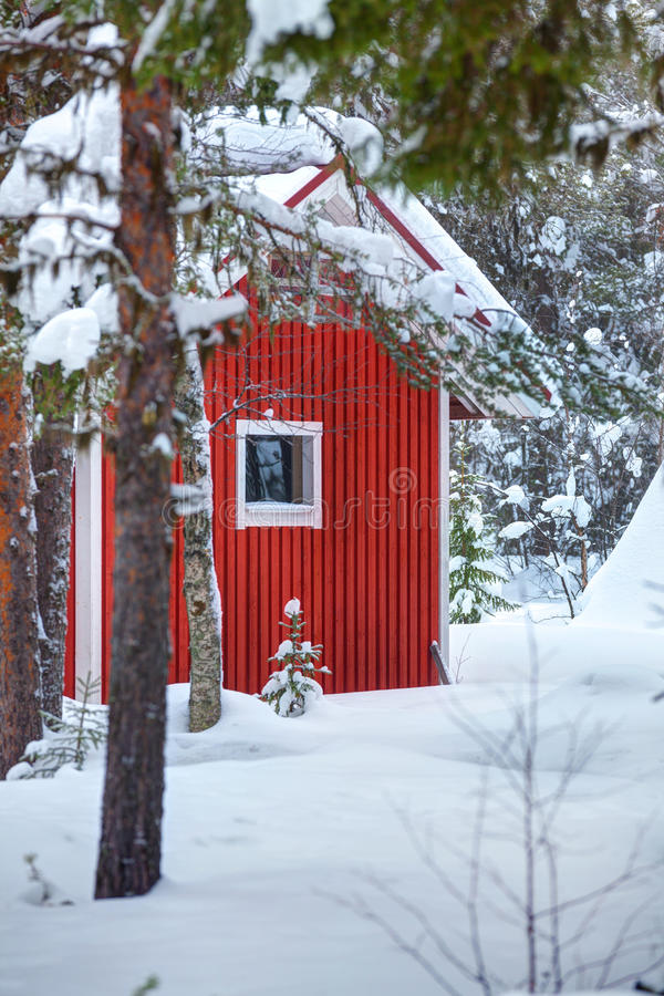 Red wooden finnish house in the forest. royalty free stock photos