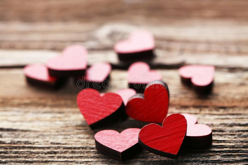 Wooden hearts stock images