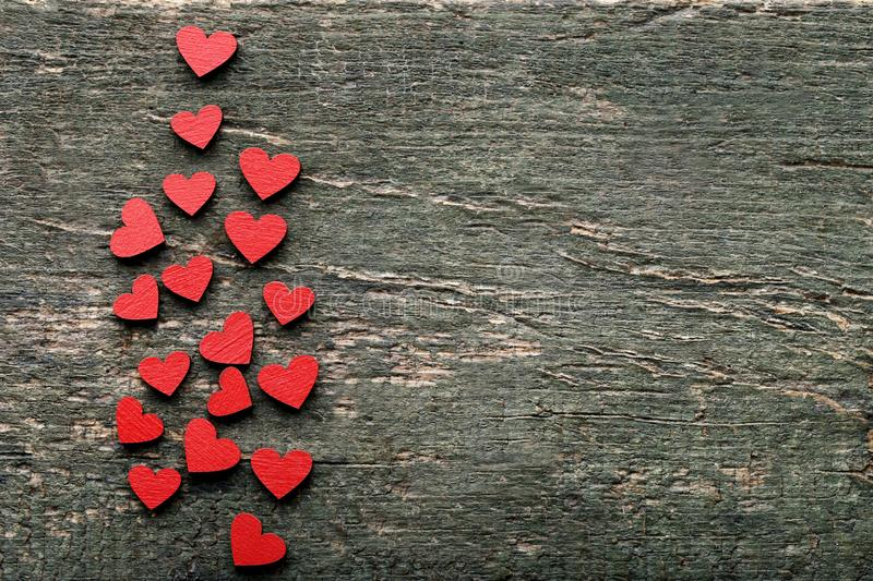Red wooden hearts stock images