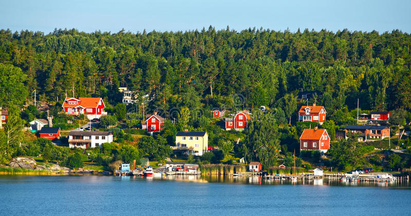 Red wooden houses royalty free stock photo