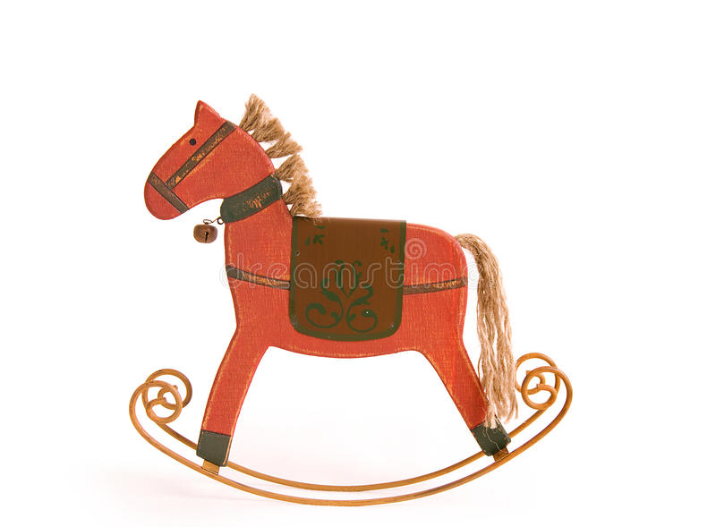 Red wooden Rockin' Horse royalty free stock photos