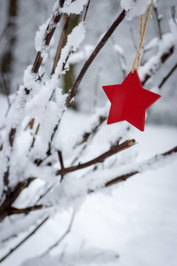 Red wooden star on snowy Christmas tree in winter forest. Christmas and Happy New Year concept. Winter holidays symbol. Frosty forest in snow. Christmas stock images