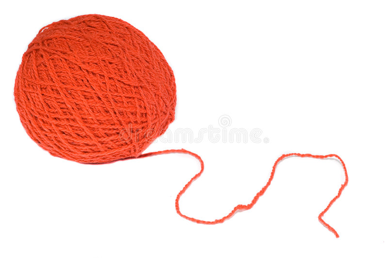 Red wool skein for knitting stock images