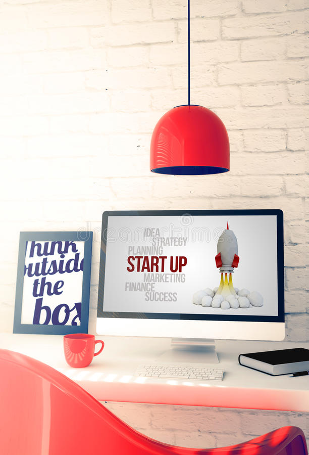 Red workspace with computer showing start up stock illustration