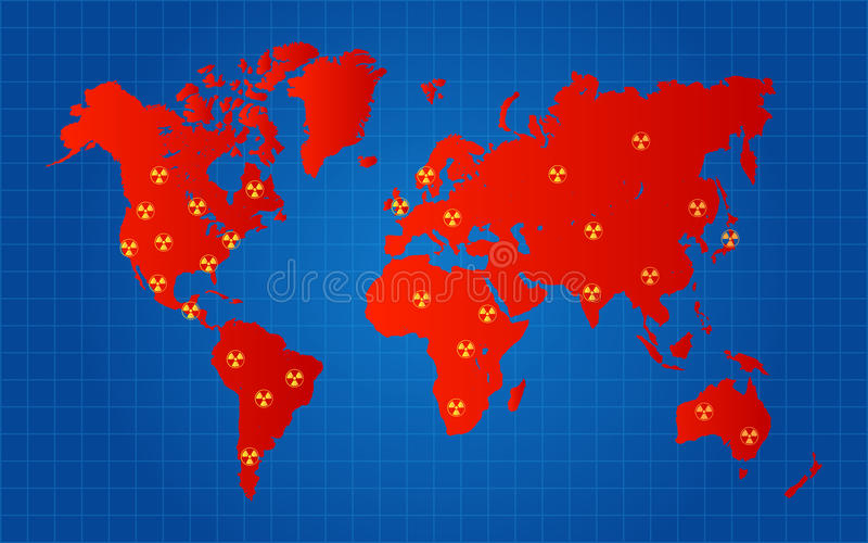 Red World Map Nuclear Radioactive Attack Locations. Concept Vector Illustration royalty free illustration