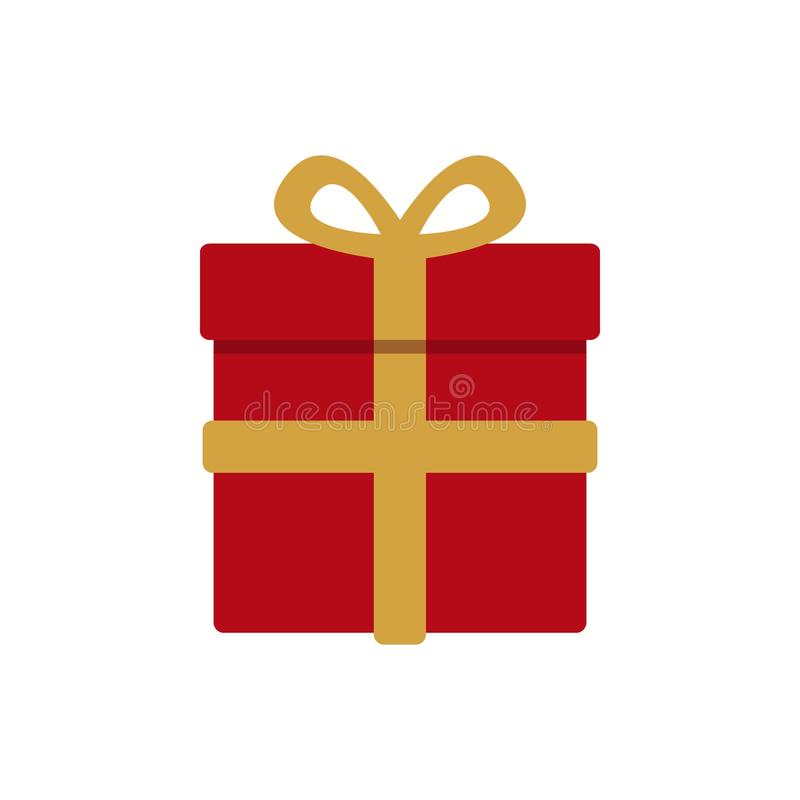 Red wrapped christmas gift with gold ribbon stock illustration