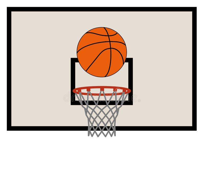 Red y tablero trasero del baloncesto ilustración del vector