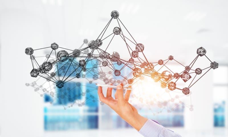 Red y tecnología futura como líneas de la conexión en oficina Técnicas mixtas stock de ilustración
