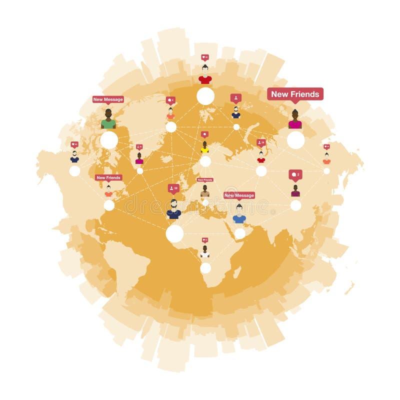 Red y trabajo en equipo sociales globales stock de ilustración