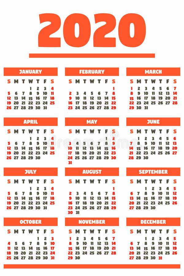 Red 2020 year calendar concept banner, flat style royalty free stock image