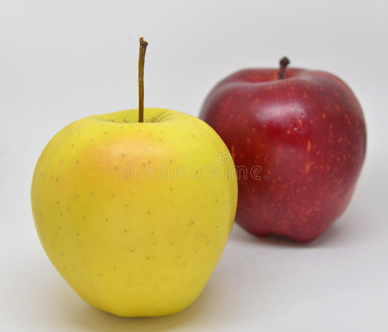 Red yellow apple with green royalty free stock photos