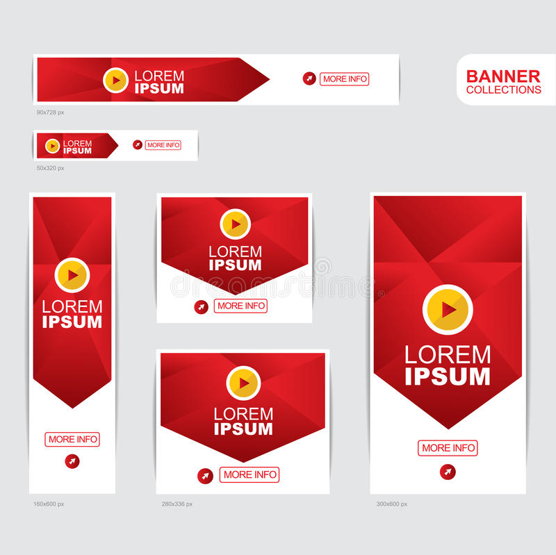 Red and yellow banner advertising templates. Design stock illustration