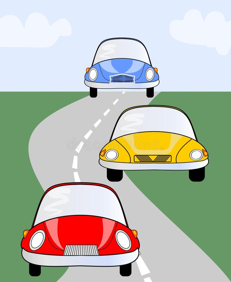 red yellow and blue cute car on road vector illustration suitable for children or different. Black Bedroom Furniture Sets. Home Design Ideas