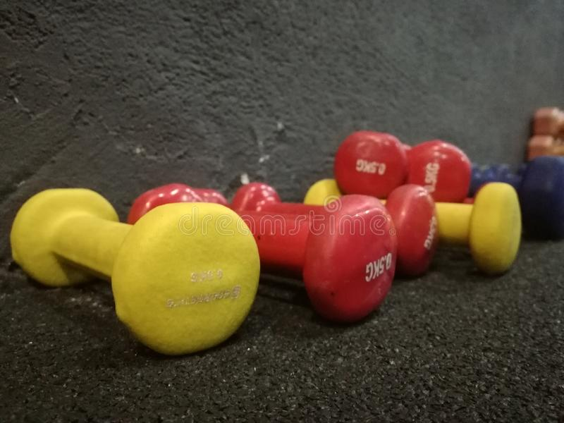 Light weights dumbbells royalty free stock photo