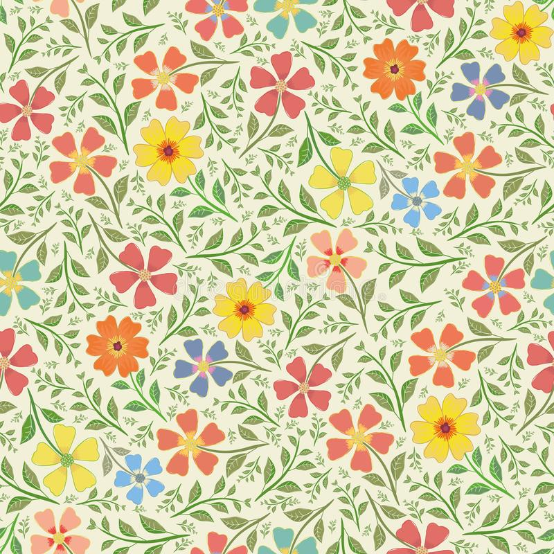 Red, yellow, blue and orange hand drawn flowers in dense vintage style design.. Seamless vector pattern on cream royalty free illustration