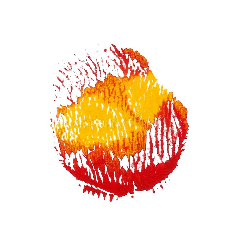 Red, yellow bright acrylic paint abstract spot royalty free illustration