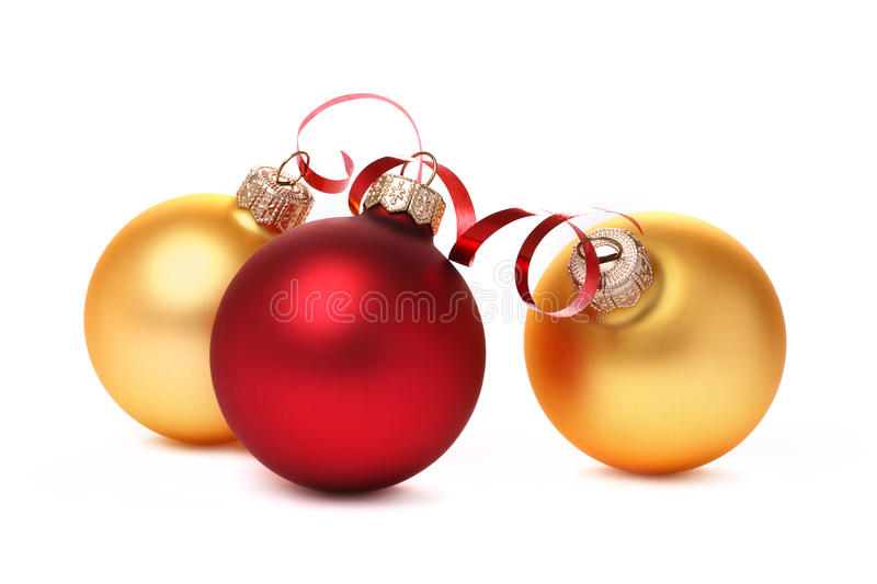 Red and yellow Christmas balls stock images