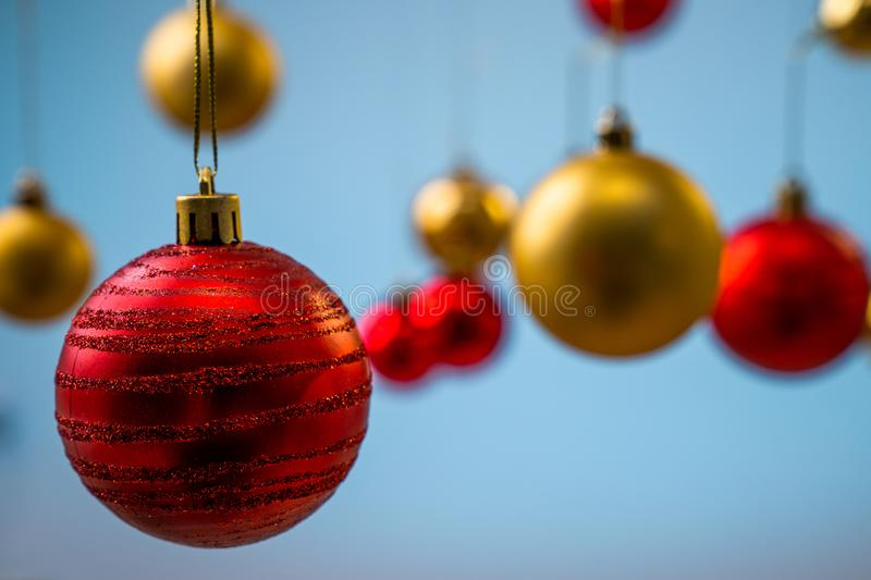 Red and yellow christmas balls royalty free stock photos