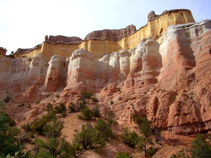 Red and Yellow Cliff. Photo of red and yellow cliff at Echo Canyon national park in New Mexico stock photography