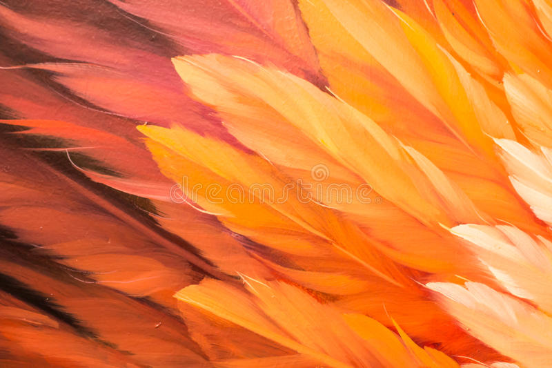 Red and yellow color oil painting texture. Abstract background, feathers stock image