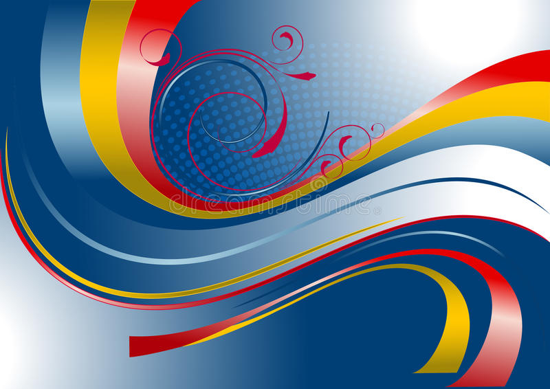 Red and yellow curved stripes on a blue background vector illustration