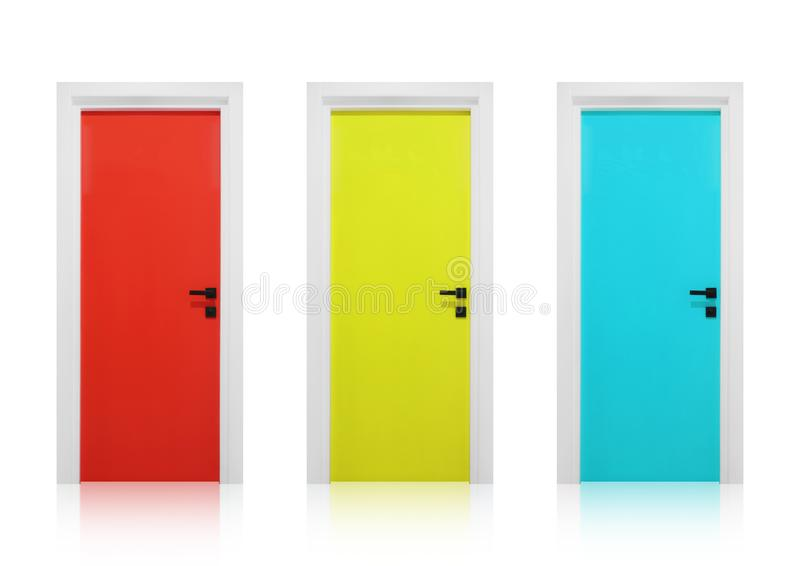 Red, yellow and cyan doors on a white background. Set of three doors, red, yellow and cyan colors, with black door handles, on a white background royalty free illustration