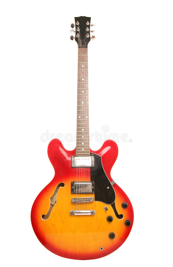 Red and yellow electric guitar stock photos