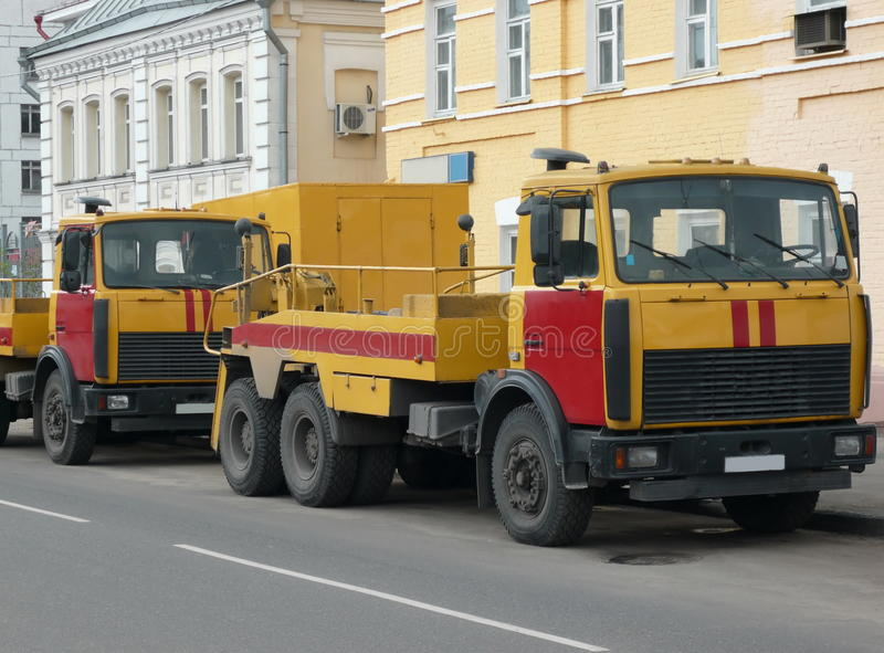 Download Red-yellow emergency truck stock image. Image of image - 12803011