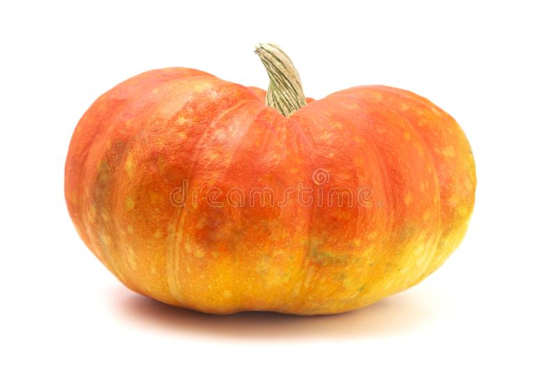 A Red and Yellow Fairytale Pumpkin on a White Background. Red and Yellow Fairytale Pumpkin on a White Background stock photo