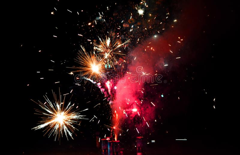 Red and Yellow Fireworks during Night Time stock image