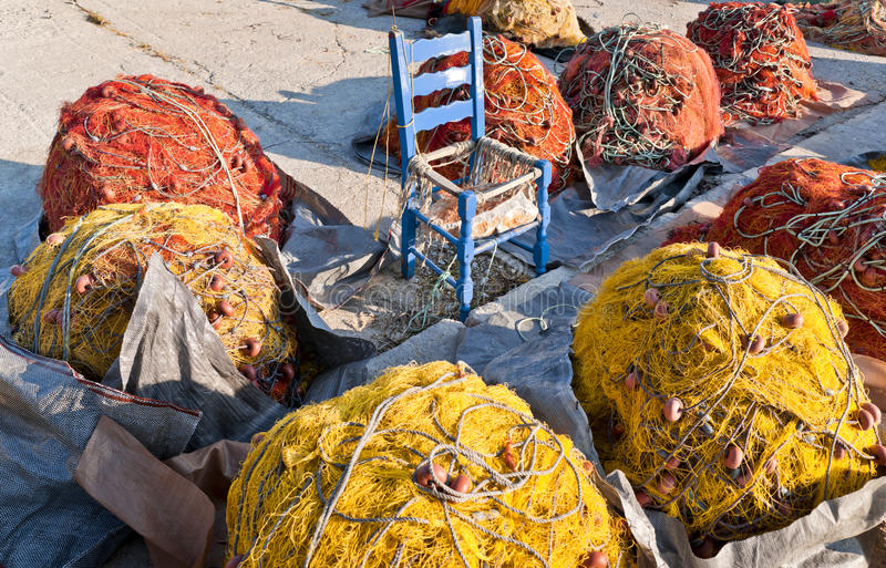 Red and yellow fishing nets royalty free stock photography