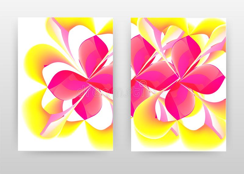 Red yellow flower petal concept abstract design of annual report, brochure, flyer, poster. Pink yellow concept on white background. Vector illustration for vector illustration