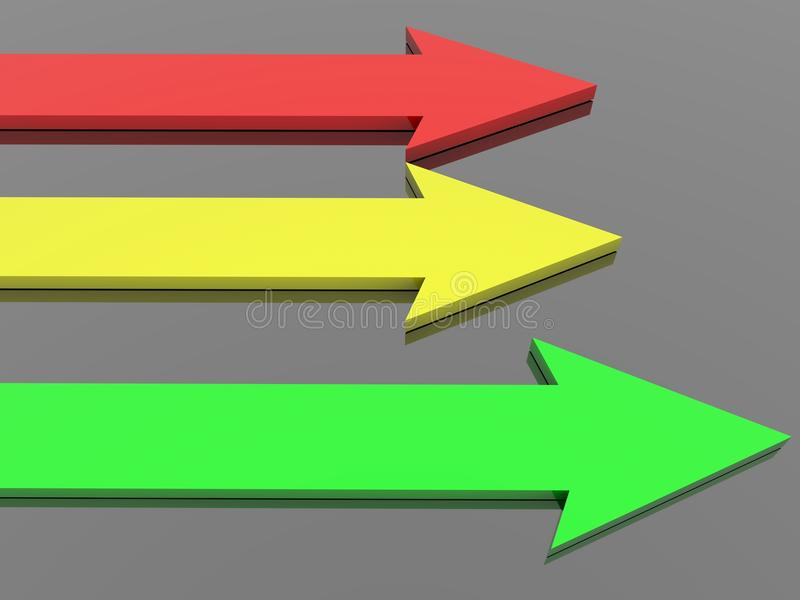 Download Red, Yellow And Green Arrows On Black Stock Illustration - Illustration of path, achievement: 11005797