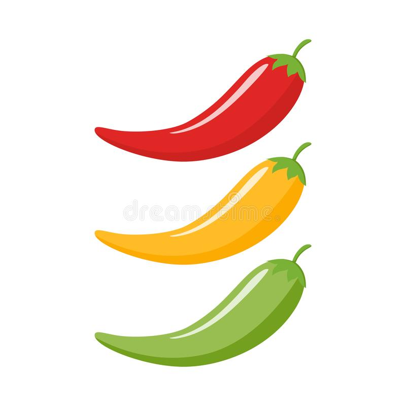 Red, yellow, green chilli peppers cartoon. royalty free illustration