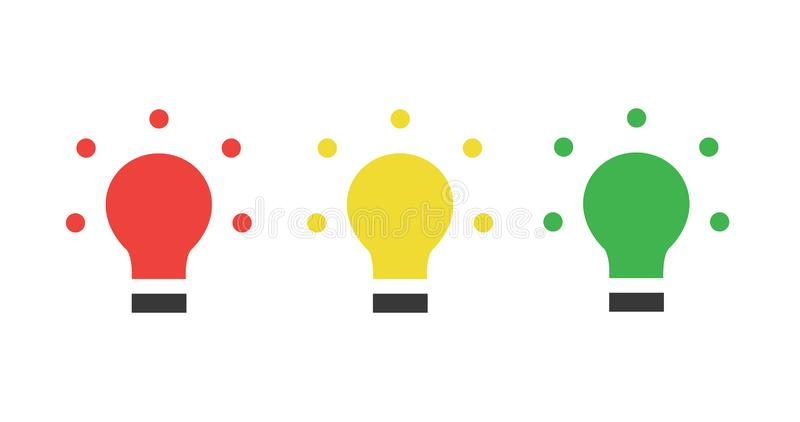 Red yellow green LED, traffic lights, light bulb flat icon, Vector illustration isolated on white background stock illustration