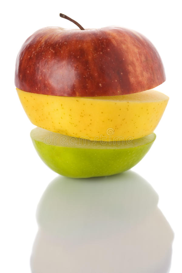 Red, Yellow Green Mixed Apple Fruits Traffic-light Stock Image