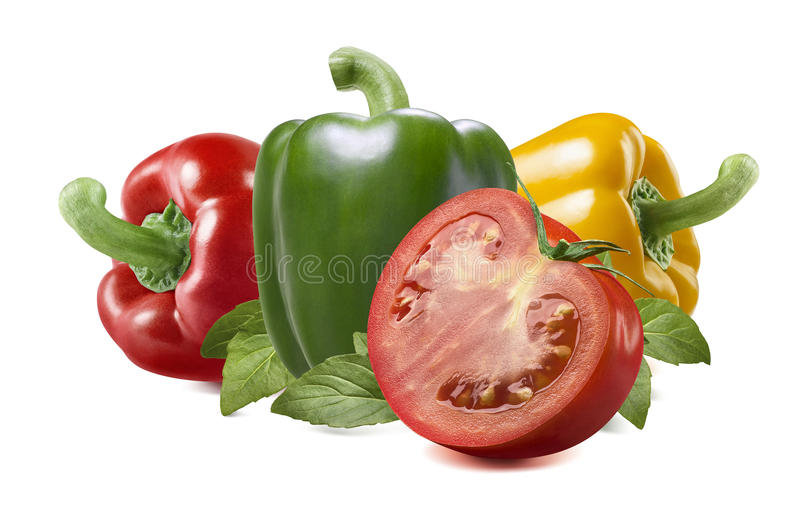 Red yellow green pepper tomato on white background stock images