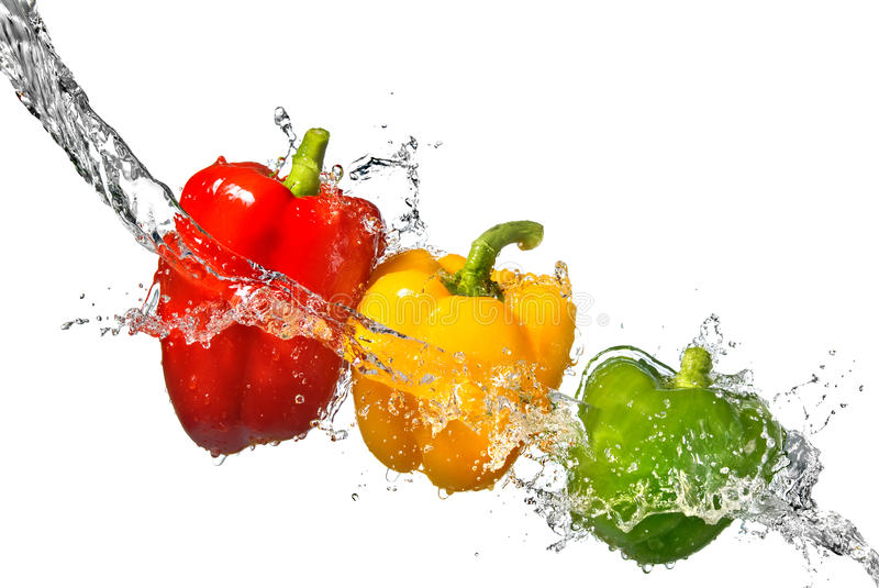 Download Red, Yellow And Green Pepper With Water Splash Royalty Free Stock Image - Image: 15078826