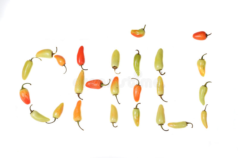 Download Red Yellow And Green  Peppers Spelline Out C H I L I. Stock Photo - Image: 1275010